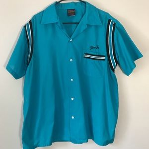 Vintage rockabilly teal Nebraska bowling shirt XL